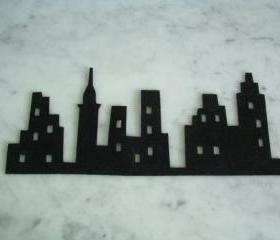 The city silhouette on Black Felt