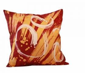 Silk Pillow - Red and Gold 1