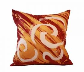 Silk Pillow - Red and Gold 2