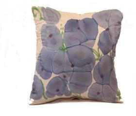 Silk Pillow - Blue Flowers