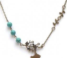 Antiqued Brass Branch Leaf Bird Turquoise Necklace