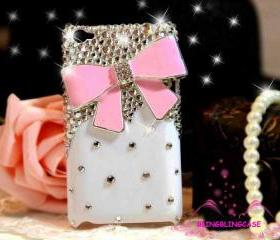 iPod Touch 4 Case, White case Pink Bow iPod Touch 4 Case, Cute iPod Touch 4th Case, Crystal Bling iPod Touch 4 case, iPod Touch 4 gen case