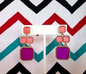 Kate Spade Inspired Geo Pink Purple Earrings
