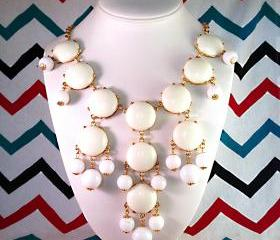 J-CREW Inspired Bubble Bib Statement Necklace in White - Ships from USA!