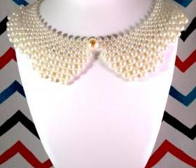 Antique Vintage Pearl Collar Statement Bib Necklace - Ships from USA