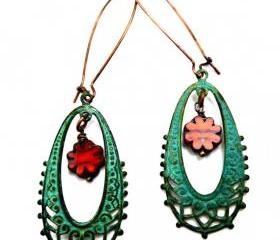 Bohemian earrings in Green Verdigris Patina with 2 Tone Tiger Lily Picasso Table Cut and Firepolished Czech Flower Glass Beads. Copper. Earrings. Jewelry.