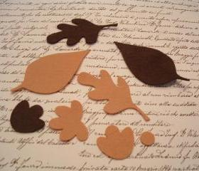 L104 -- 24 Felt Leaves in browns