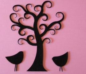 Curly tree with birds BLACK FELT