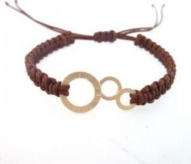 Brown Macrame Bracelet , Handmade brown macrame bracelet with gold plated bubbles charm
