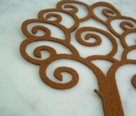 Curly brown tree on Felt