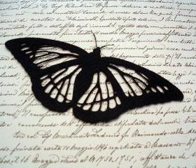Black butterfly on felt 