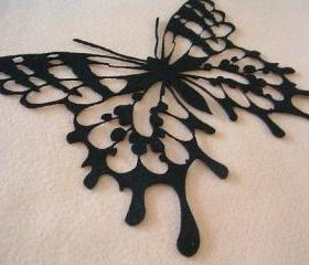 Huge butterfly on black felt (Felt art)