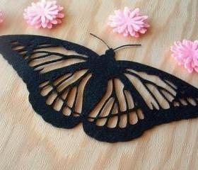 Huge butterfly on black felt