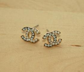 Dazzling Gold Pearl White Rhinestone Earrings