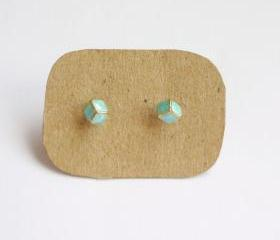 SALE - Lil Blue Cubic Cube Ear Stud Earrings - Gift under 15