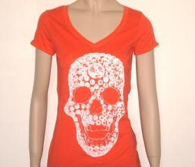 White swarovski diamonds skull tshirt for women, orange V neck tee