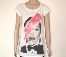David Bowie Angelina Jolie white burnout t shirt for women