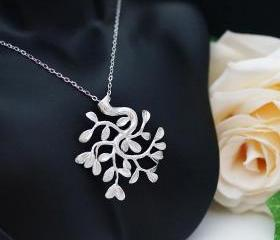 Tree of Life . Matte white gold plated tree with branch and leaf Necklace
