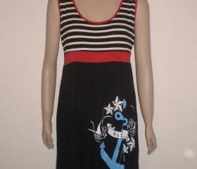 Black dress red white stripes with blue bleu cobalt rockabilly anchor stars and birds