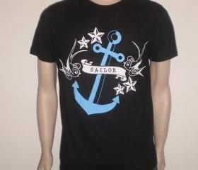 Black tshirt with blue bleu cobalt azure rockabilly anchor with stars and birds