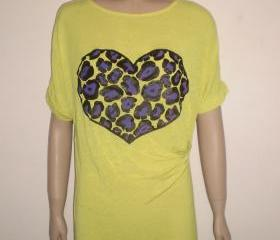 Yellow long tshirt mini dress with purple and black leopard heart