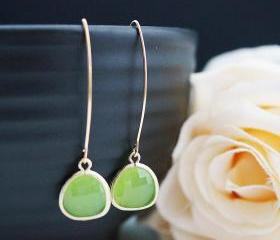 Modern Jewelry Modern Earrings Dangle Earrings Matte gold framed Apple Green Opal Glass Drops Earrings