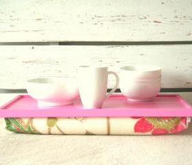 Wood Breakfast serving or Laptop Lap Desk- XL size- Pink with Creme, Coral and Green flower printed Linnen Pillow