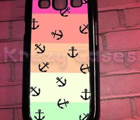 Samsung Galaxy S3 Case, Colorful Nautical Anchor Samsung Galaxy S3 Cover, Samsung Galaxy S3 Cases, Galaxy s3 case