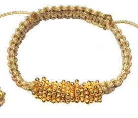 Macrame beaded rondelle gold Bracelet