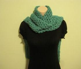 Crochet Scarf, Cowl, Neckwarmer, Extra Long - aqua (SC9)