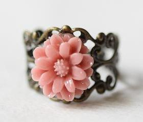 Coral Pink Chrysanthemum Flower Filigree Ring