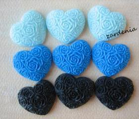 9PCS - Heart Flower Cabochons - Resin - Blue, Royal Blue and Black Mix - 19x21mm - Cabochons by ZARDENIA