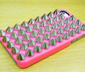 Shine Silver Metal Spike Cone Stud Dark Pink Hard Case Cover For Apple iPhone 4, iPhone 4G, iPhone 4S