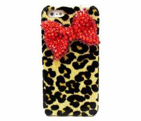 Bling Crystal Velvet Leopard Gold iphone 5 case, Red Bow iphone 5G case, Crystal iphone 5 case, Leopard iphone 5G case A1