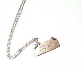 LIMITED EDITION- Personalized Name Necklace - sterling silver 925 pendant on 40cm long chain
