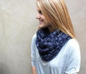 Circle Scarf, Cowl Scarf, Peace Signs, Navy, White