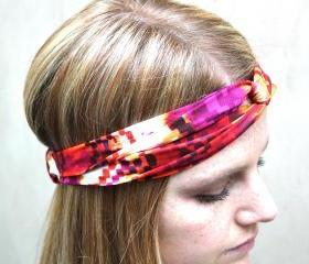 Knotted Headband, Turband, Aztec Print, Orange, Fuschia, Yellow
