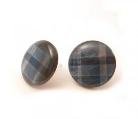 Blue Plaid Button Earrings , Synthetic button jewelry, Blue shades earrings, under 10