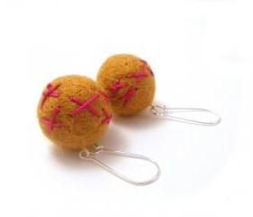 Yellow Felted Earrings, Embroidered Mustard Yellow Felted Wool Beaded Dangle Earrings, Large Felt Beads