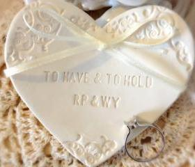 CUSTOM- Classic Heartshape Wedding Ring Bearer Bowl with Pearls, Custom Ring Holder Dish handmade with Pearl Embellishments