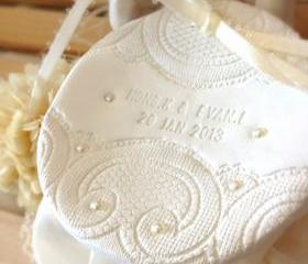 CUSTOM - Personalized Round Wedding Ring Bearer Bowl with Lace & Pearl Embellishments Bridal Ring Holder Dish handmade