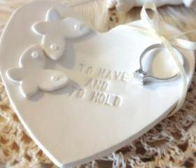  CUSTOM- NEW Classic Butterflies Heartshape Wedding Ring Bearer Bowl, Custom Ring Holder handmade with Pearl Embellishments