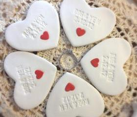  CUSTOM- 5pc Wedding Favors Mini Heart Ornament Thank You Gift - Clay Heart Table Ornament Personalized