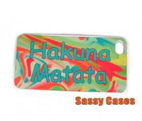 Mint and Coral Hakuna Matata iPhone 4 iPhone 4S Case Decorative Rubber Case