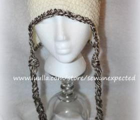 Earflap beanie with tassels
