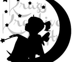 Girl on moon decal