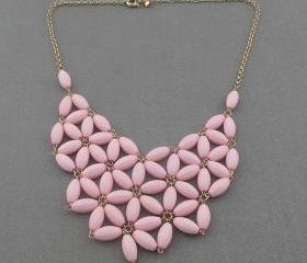 pink fan bubble necklace,bib statement necklace,holiday party,beaded jewelry necklace,statement necklace-JCrew Inspired