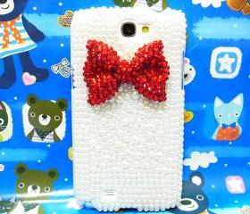 Bling Pearl Bow Samsung Galaxy Note II case, Samsung N7100 Galaxy Note 2 case, Crystal Red Bow Samsung N7100 Galaxy Note 2 case A1 