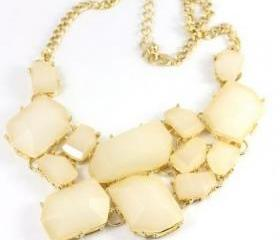 white-Colors Choose Chunky Chain Resin Geometry Drop Golden Choker Bib Necklace