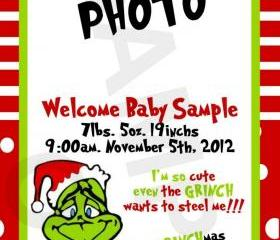 The Grinch Photo Birth Announcement